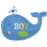 "34"" Ahoy Baby Boy Blue Whale Foil Balloon"